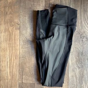 Lululemon high waisted black ribbed tights